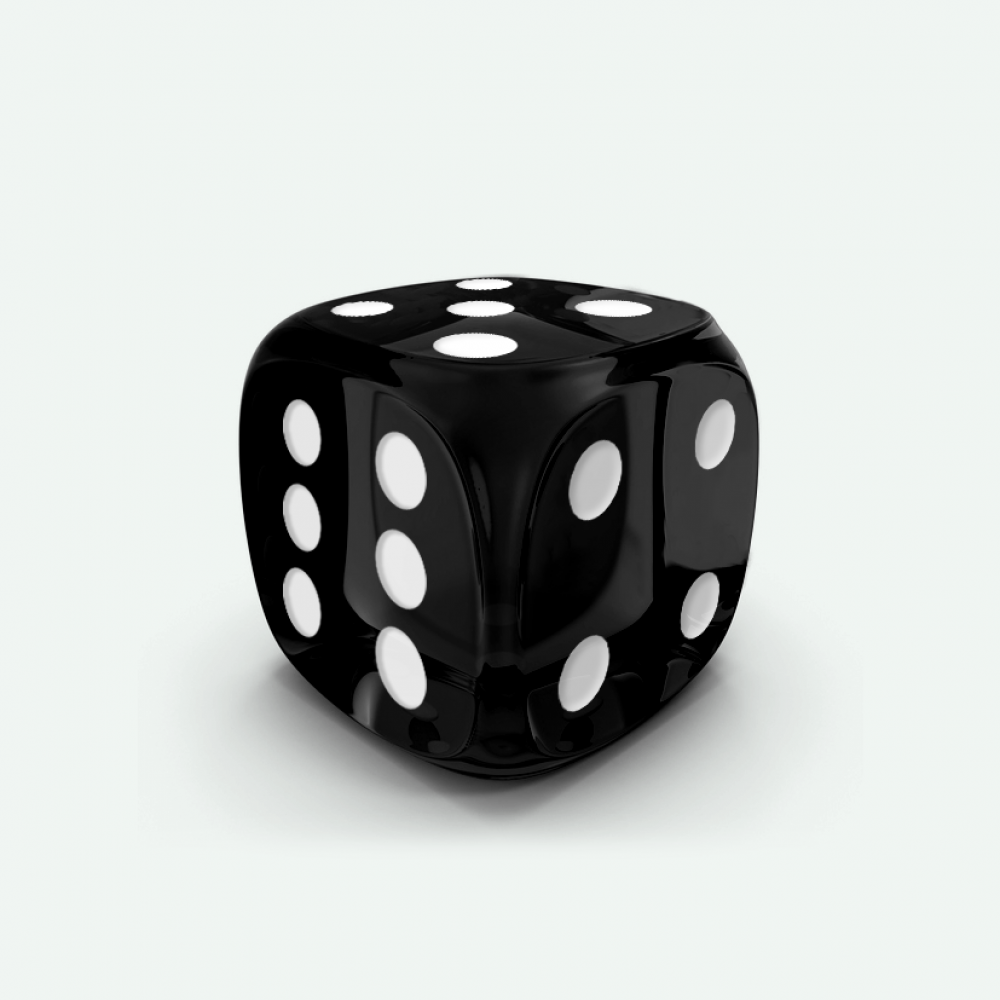 Black gem D6 Mokko dice