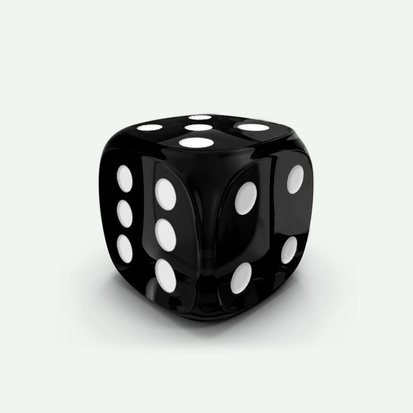 Mokko dice D6 16mm round corner gem effect black