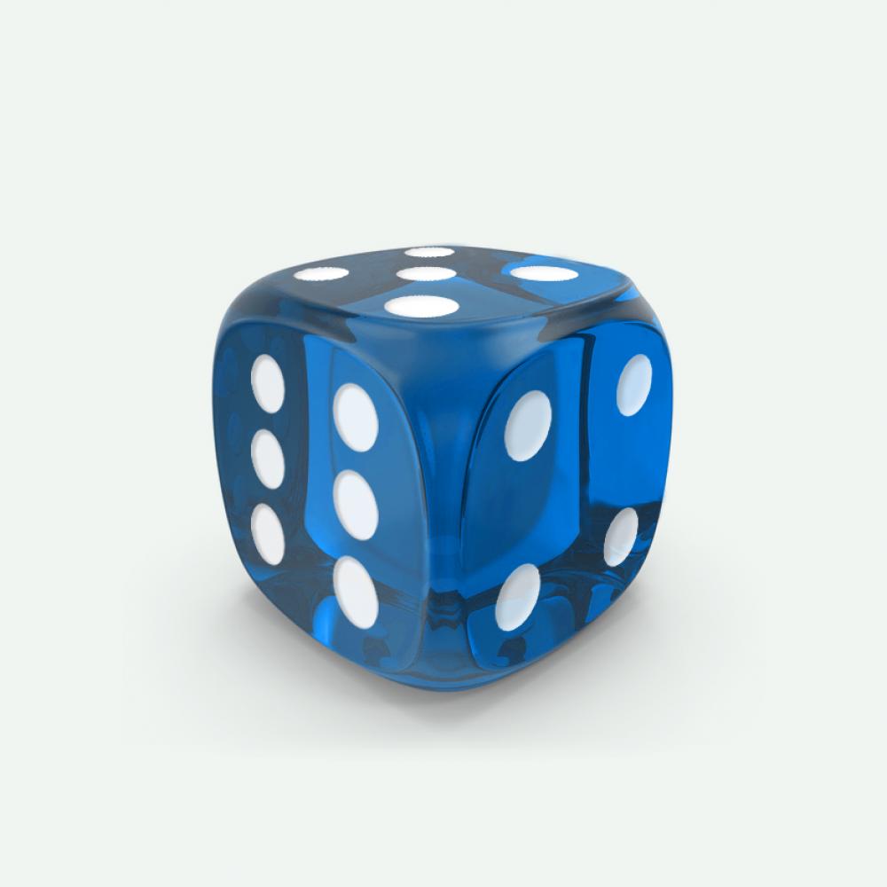 Blue gem D6 Mokko dice