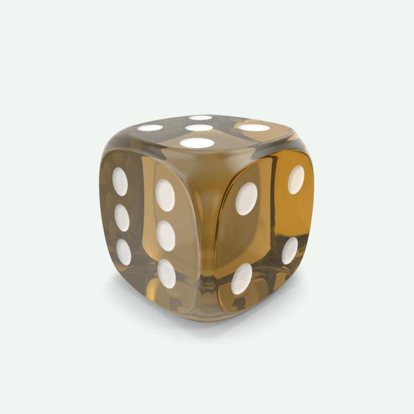 Mokko dice D6 16mm round corner gem effect brown