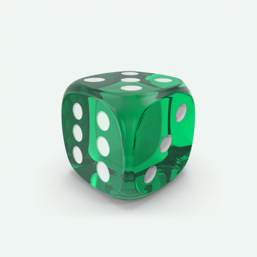 Emerald gem D6 Mokko dice