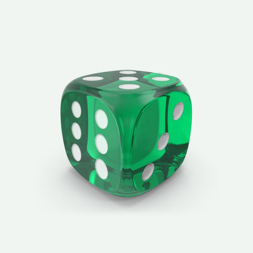 Mokko dice D6 16mm round corner gem effect emerald