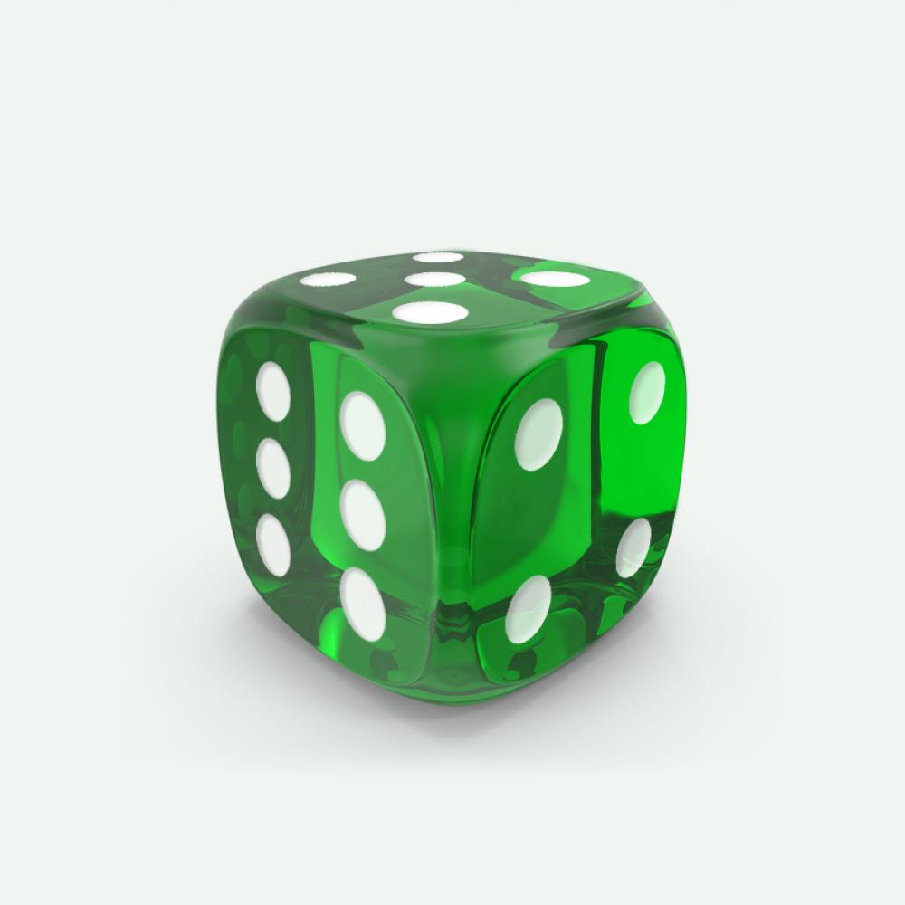 Green gem D6 Mokko dice