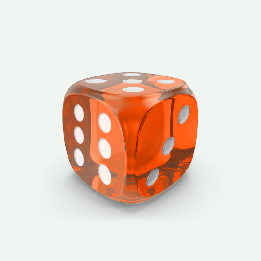 Mokko dice D6 16mm round corner gem effect orange