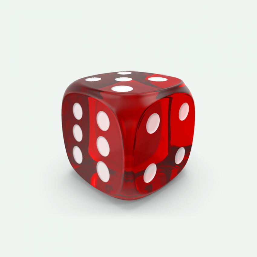 Mokko dice D6 16mm round corner gem effect red