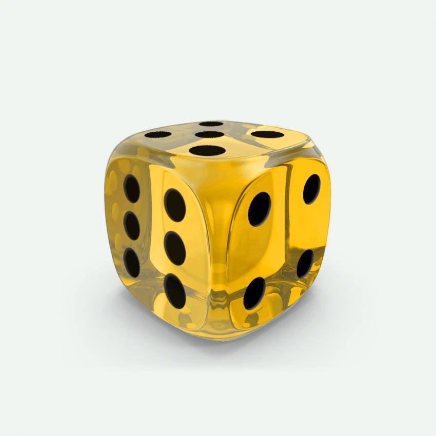Mokko dice D6 16mm round corner gem effect yellow
