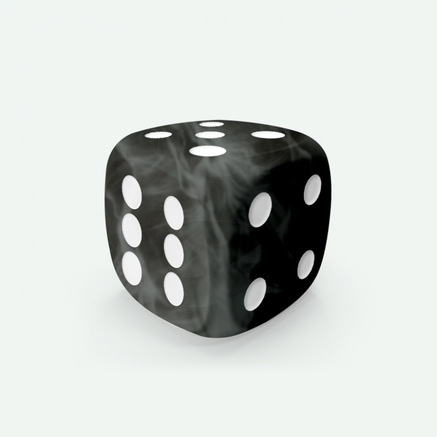 Mokko dice D6 16mm round corner marble effect black