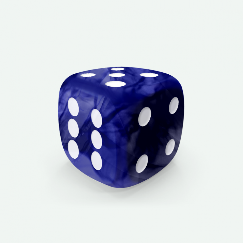 Mokko dice D6 16mm round corner marble effect blue