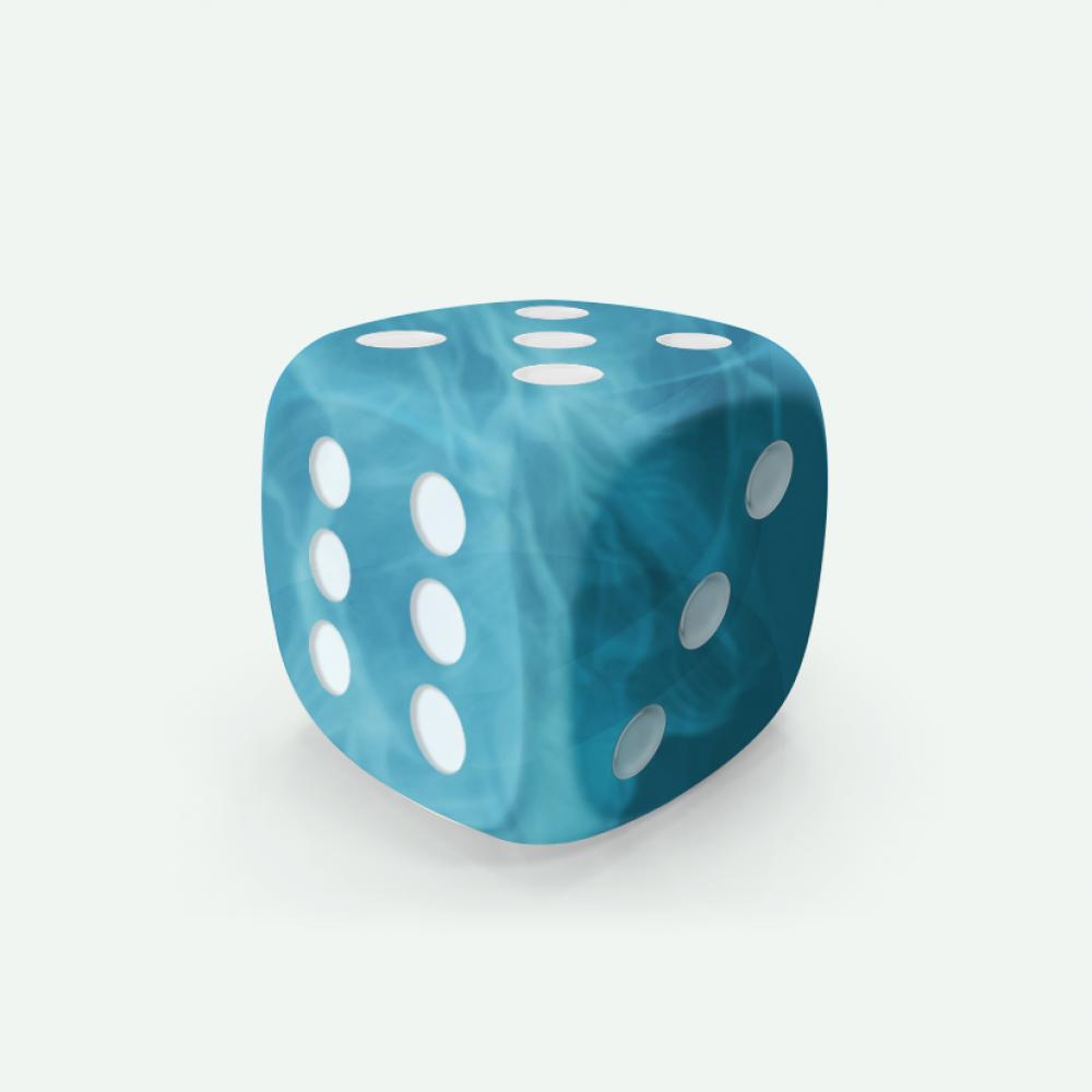Cyan marble D6 Mokko dice