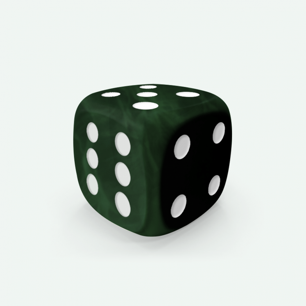 Dark green marble D6 Mokko dice