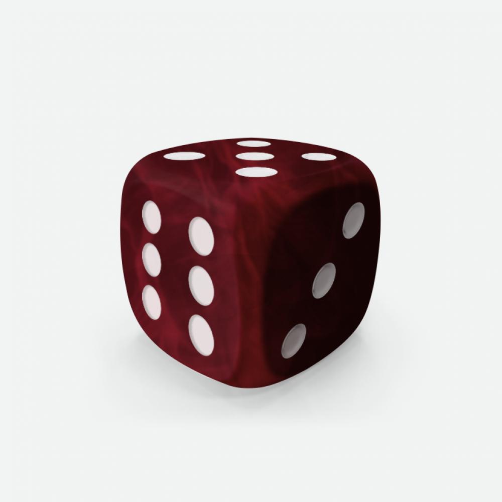Dark red marble D6 Mokko dice
