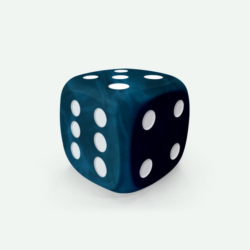 Mokko dice D6 16mm round corner marble effect dark blue
