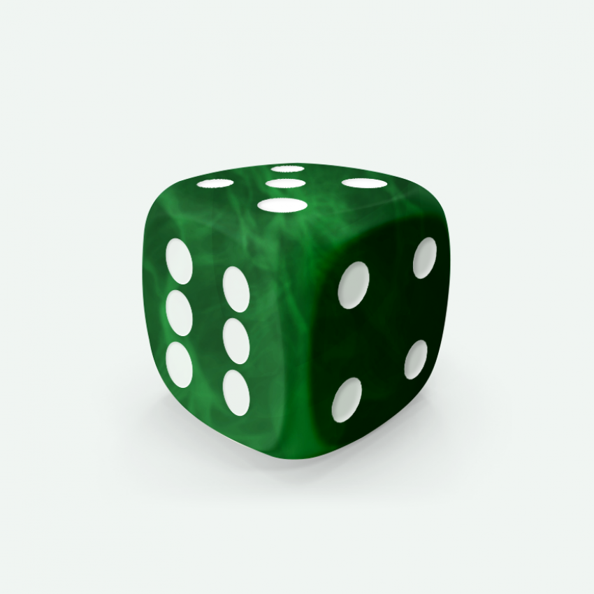 Mokko dice D6 16mm round corner marble effect deep green