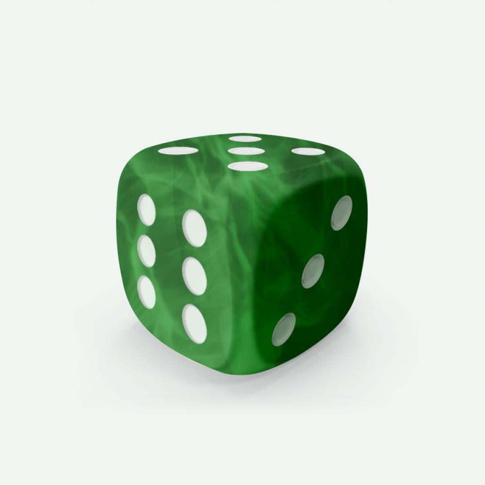 Green marble D6 Mokko dice