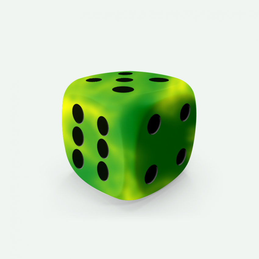 Mokko dice D6 16mm round corner marble effect green-yellow