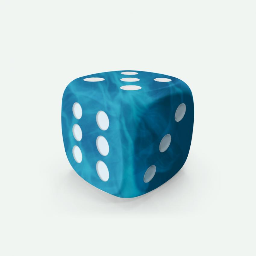 Mokko dice D6 16mm round corner marble effect light blue