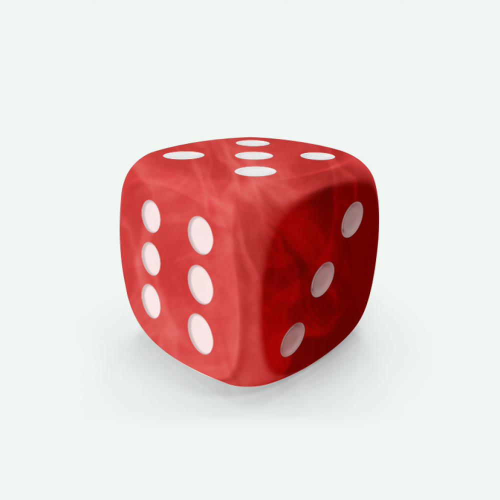 Light red marble D6 Mokko dice