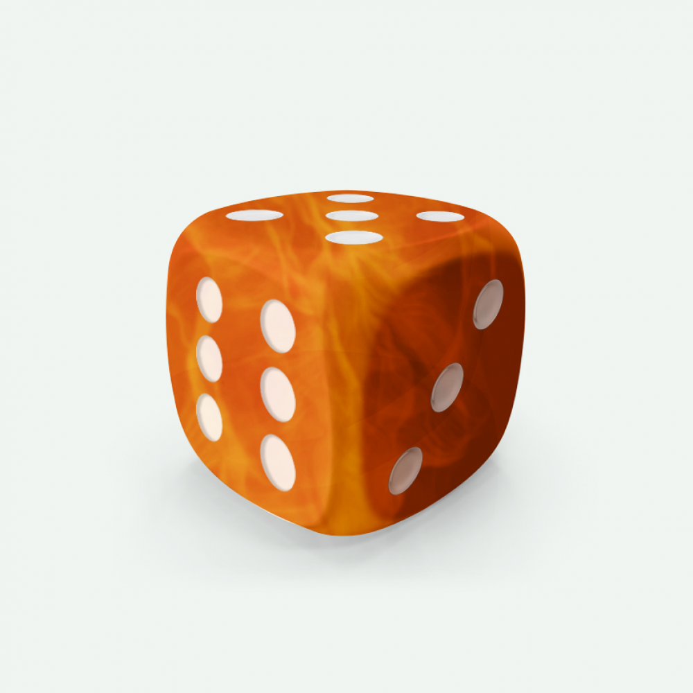 Orange marble D6 Mokko dice