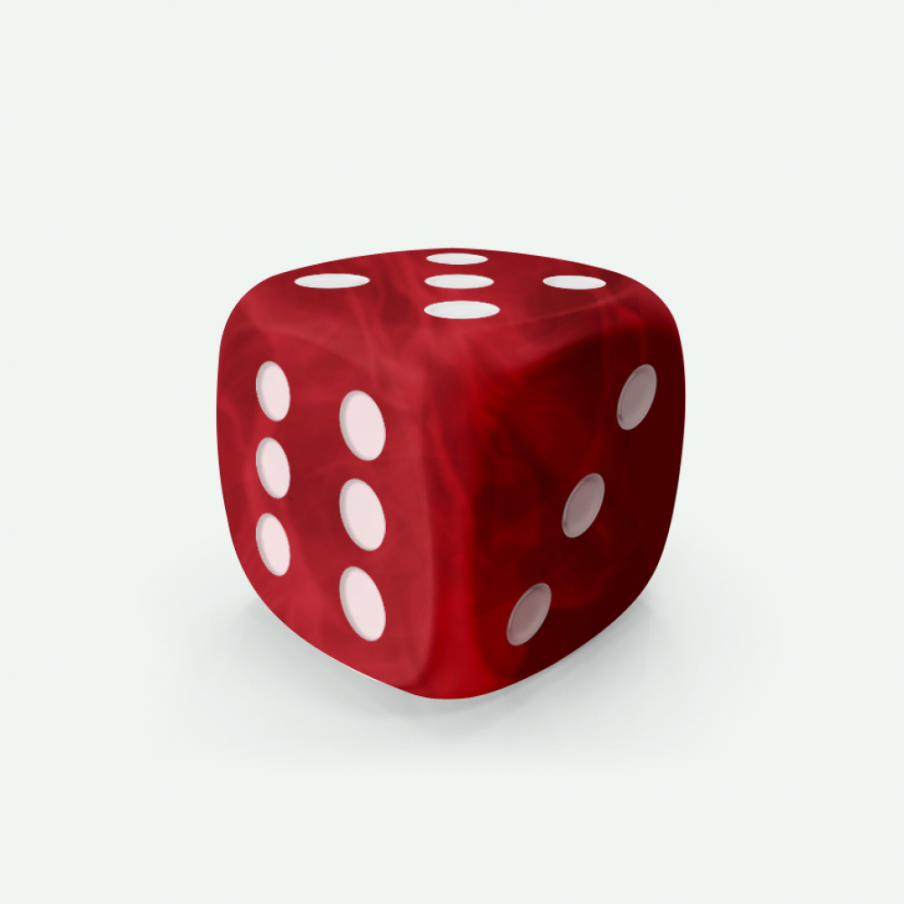 Red marble D6 Mokko dice
