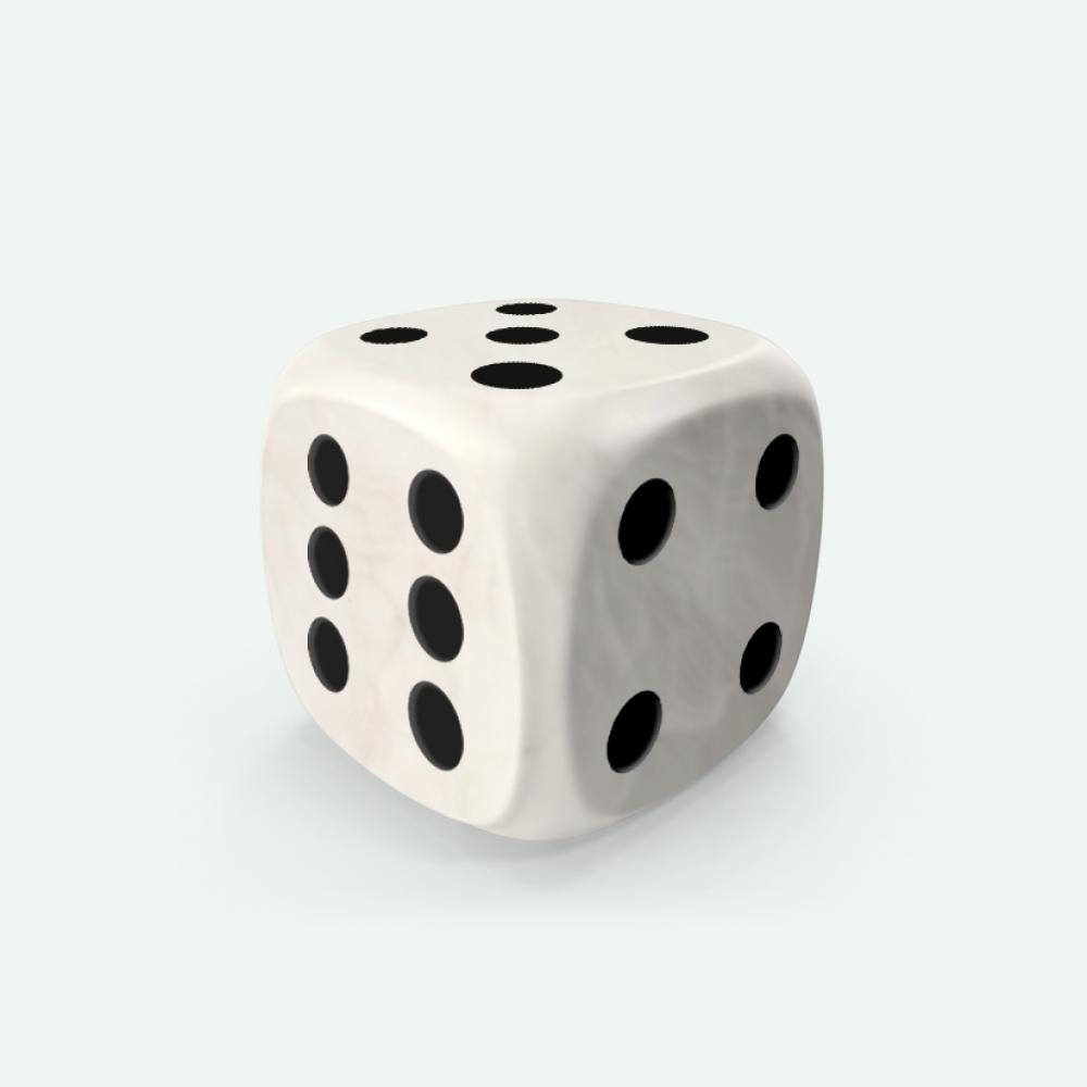 White marble D6 Mokko dice