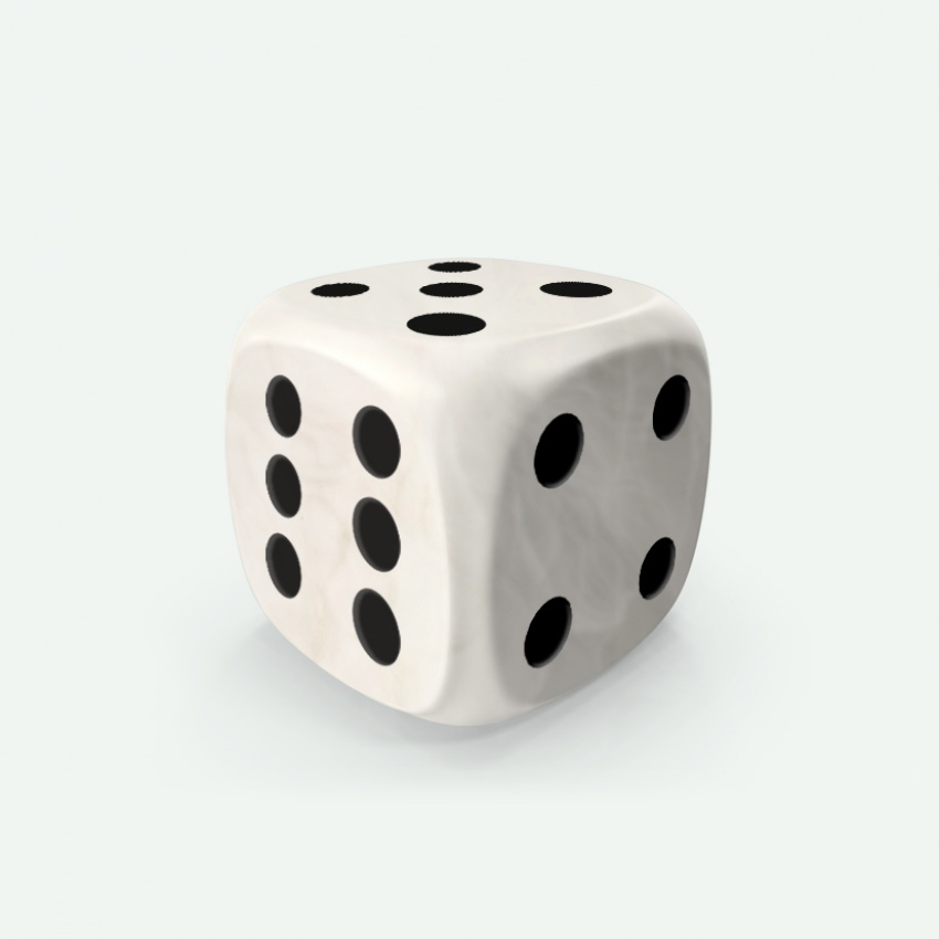 Mokko dice D6 16mm round corner marble effect white
