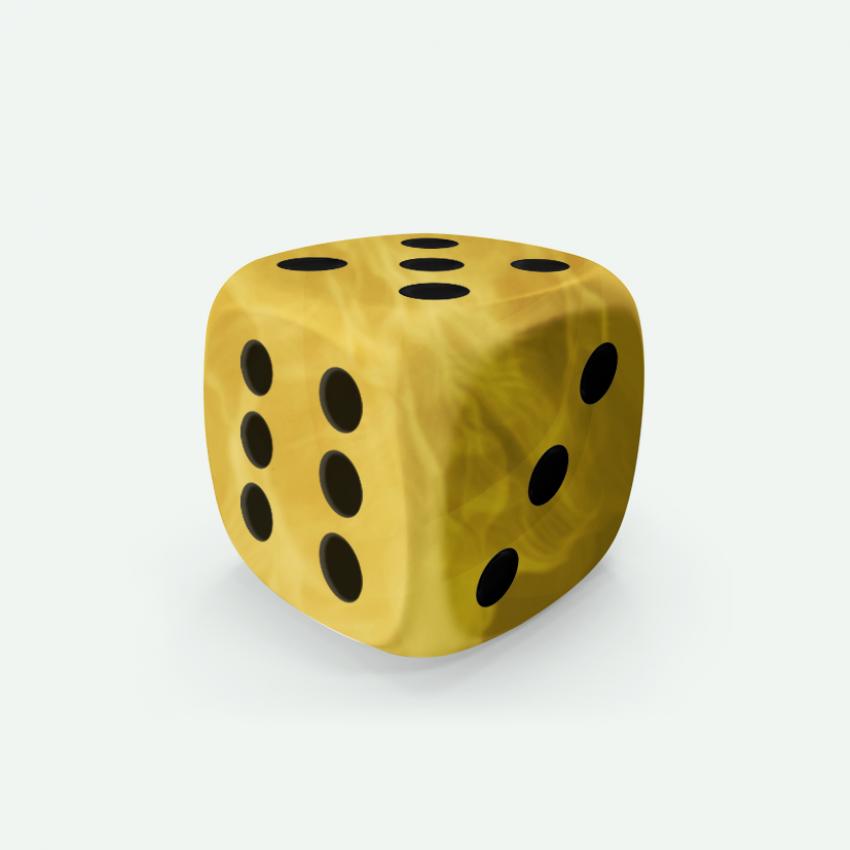 Mokko dice D6 16mm round corner marble effect yellow