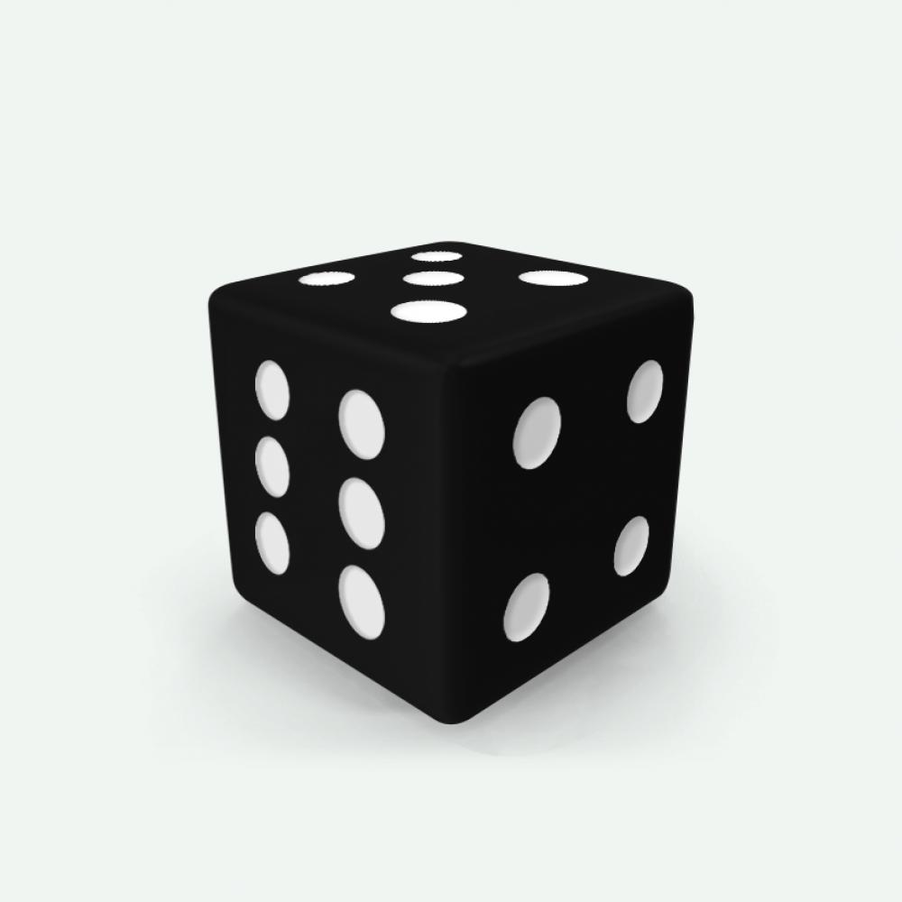 Black D6 square Mokko dice