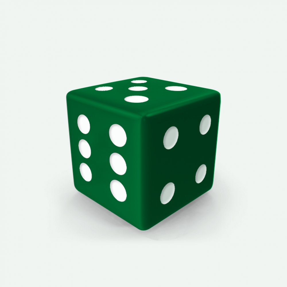 Green D6 square Mokko dice