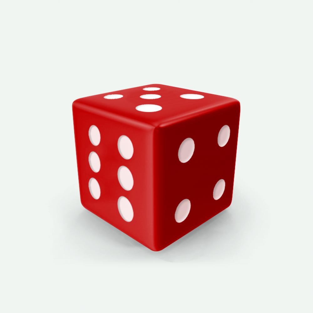 Red D6 square Mokko dice