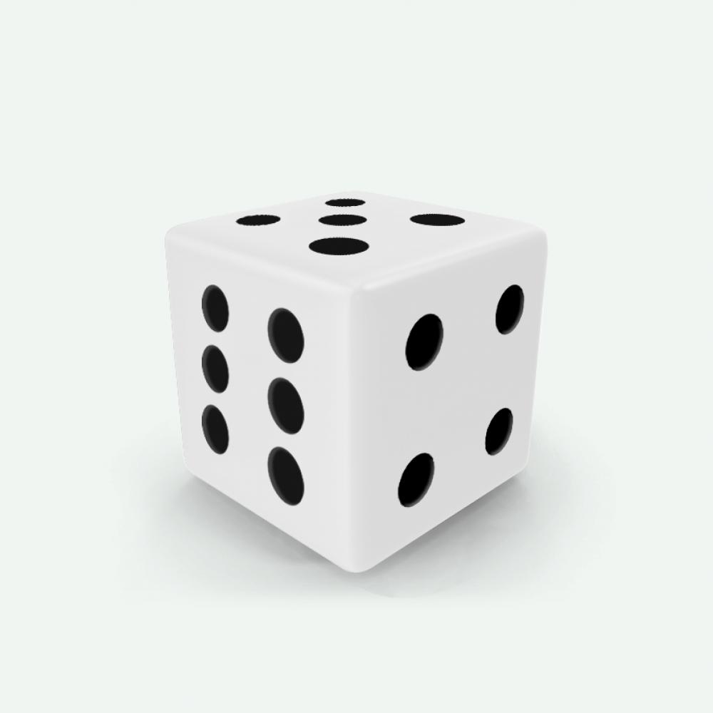 White D6 square Mokko dice