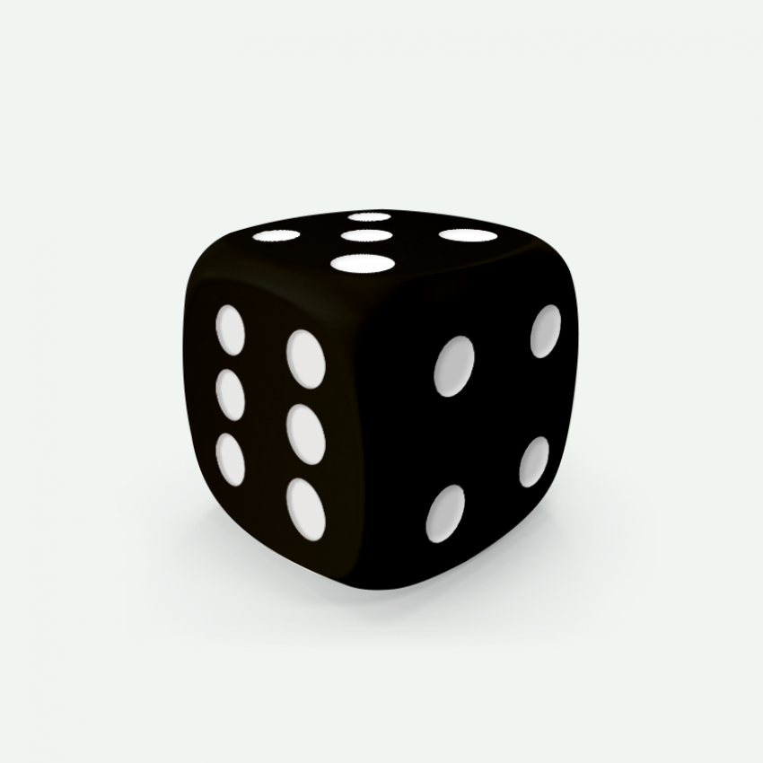 Mokko dice D6 16mm round corner solid color black