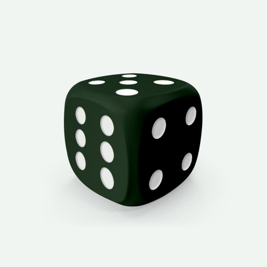 Mokko dice D6 16mm round corner solid color dark green