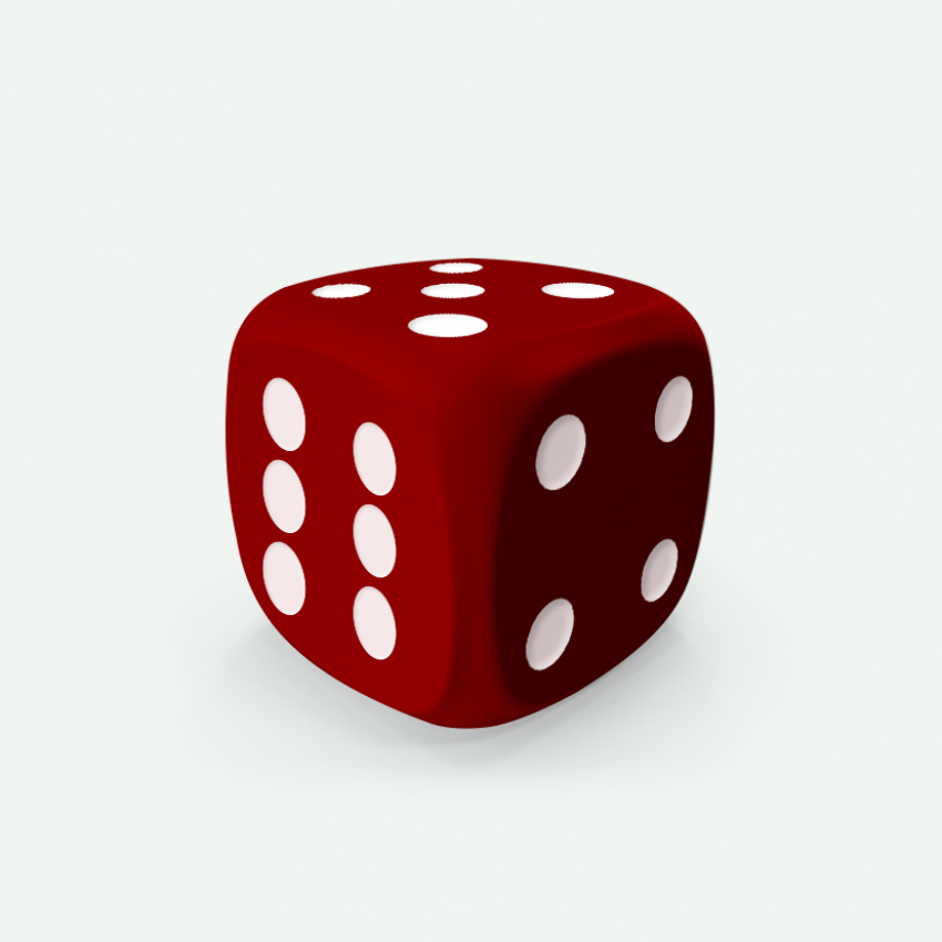 Mokko dice D6 20mm round corner solid color dark red