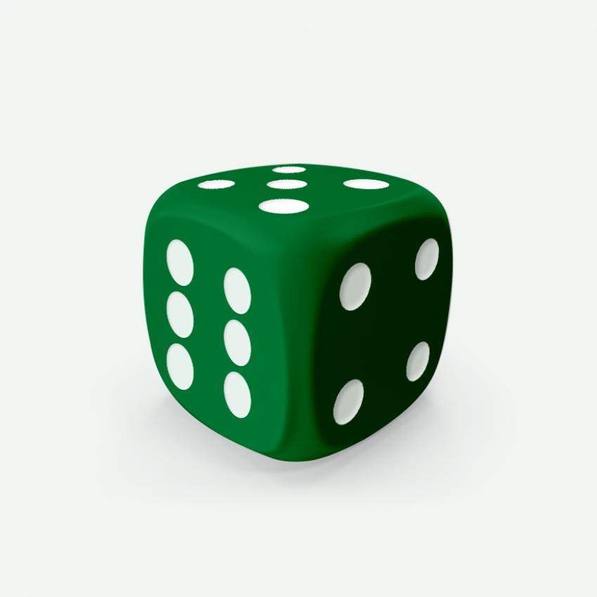 Mokko dice D6 20mm round corner solid color deep green
