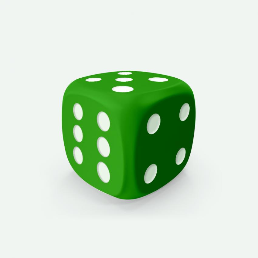 Mokko dice D6 16mm round corner solid color green