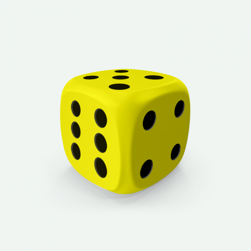 Mokko dice D6 16mm rounded corner solid color lemon yellow