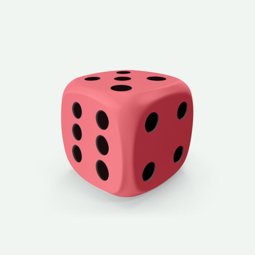 Mokko dice D6 16mm round corner solid color light pink