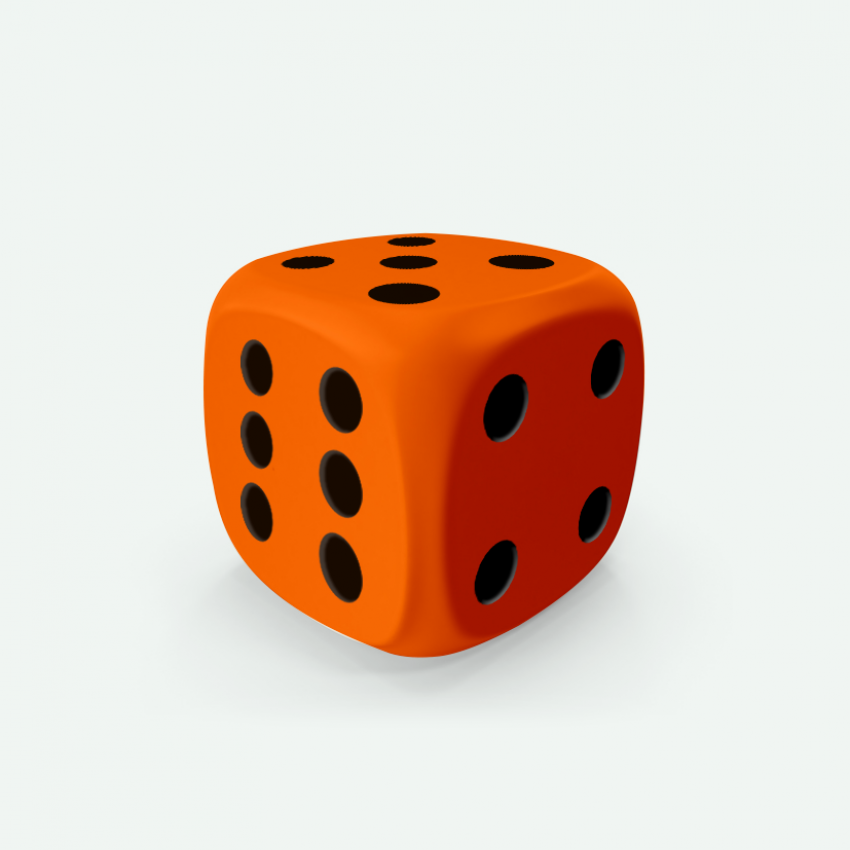 Mokko dice D6 16mm round corner solid color orange
