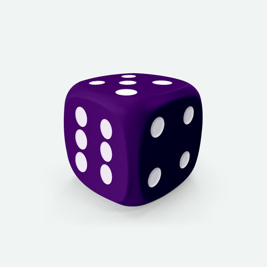 Mokko dice D6 16mm round corner solid color purple