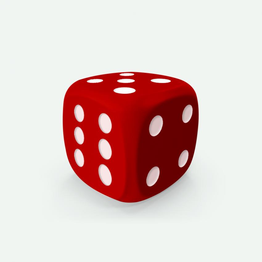 Mokko dice D6 16mm round corner solid color red