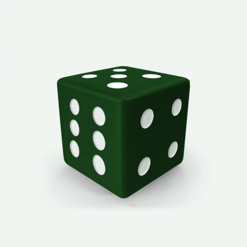 Mokko dice D6 16mm square corner solid color dark green