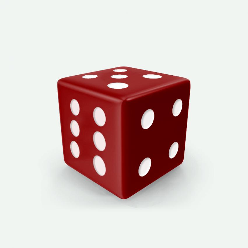 Mokko dice D6 16mm square corner solid color dark red
