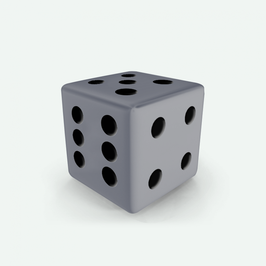 Mokko dice D6 16mm square corner solid color grey