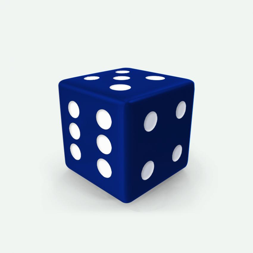 Mokko dice D6 16mm square corner solid color royal blue