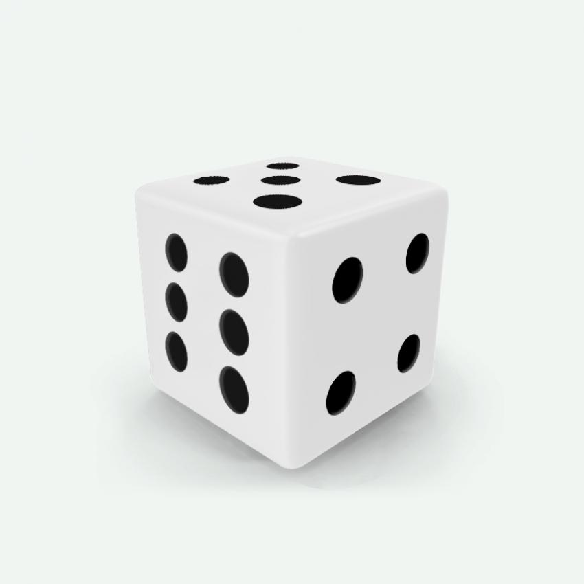 Mokko dice D6 16mm square corner solid color white