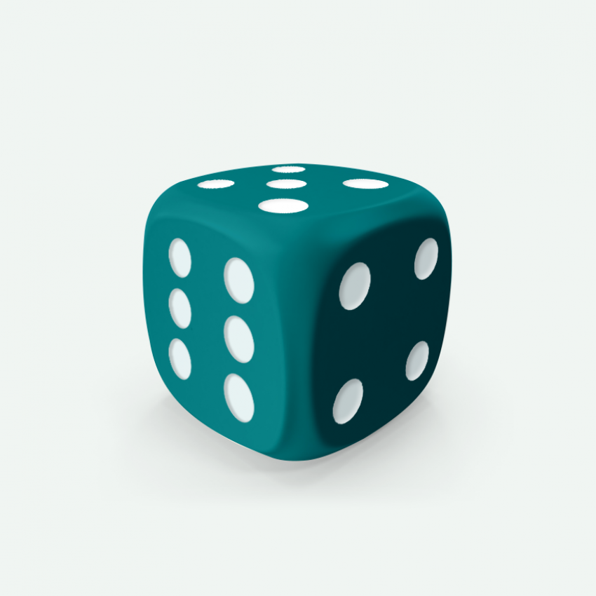 Mokko dice D6 16mm round corner solid color turquoise